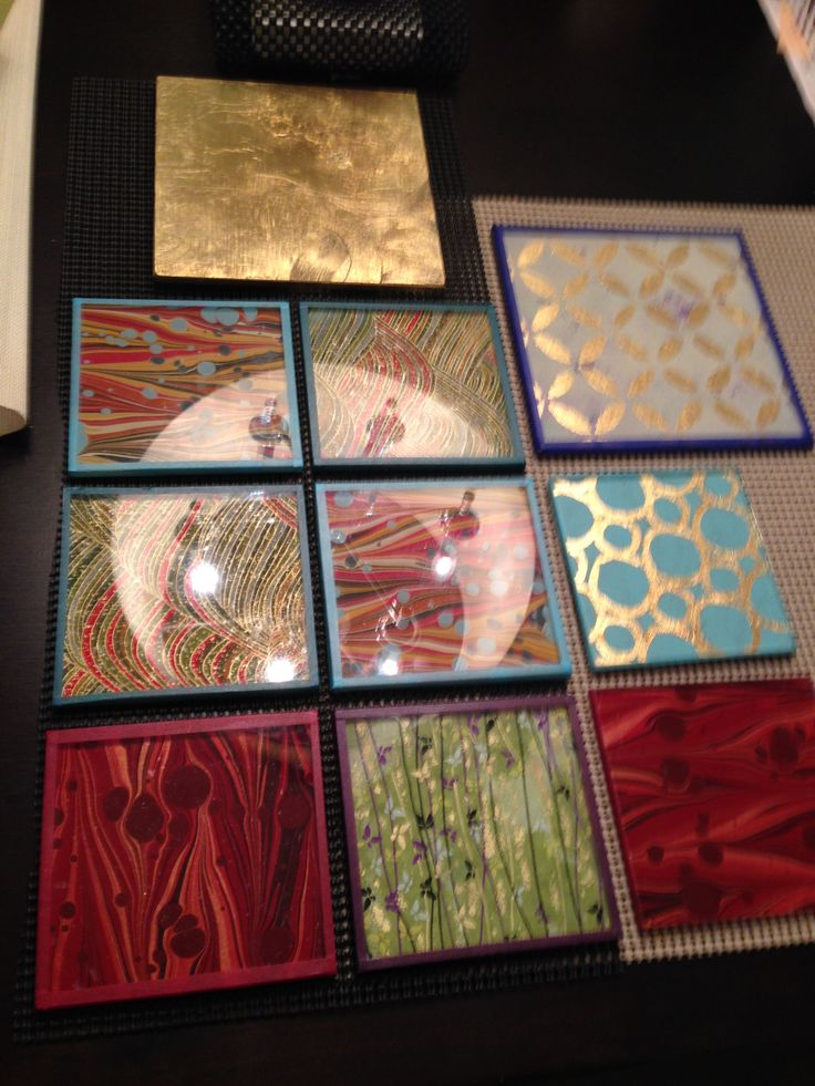 Hand-made glass tiles - Gold leaf and polychromes, back-painted glass (Verre Eglomise)
