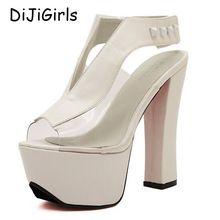 Bombas plataforma sexy salto alto com tira no tornozelo sandálias grossas das mulheres sapatas das senhoras 2017 sandálias da geléia de sapatos mulher partido feminino D32 alishoppbrasil