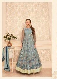 Ruritanian Gauhar Khan Grey Floor Length Anarkali Suit