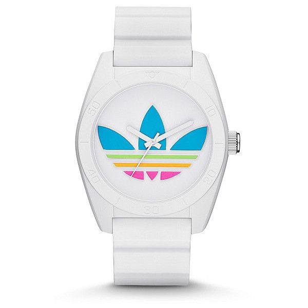 Adidas Performance Santiago White Analog Watch ❤ liked on Polyvore featuring jewelry, watches, white watches, adidas, analog watch, analog watches and adidas watches