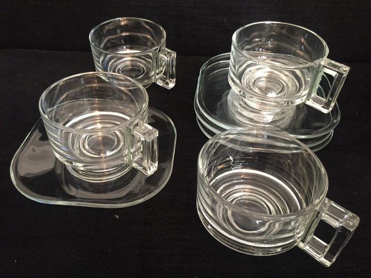 Joe Columbo glass cups and saucers by kuladotlondon on Etsy