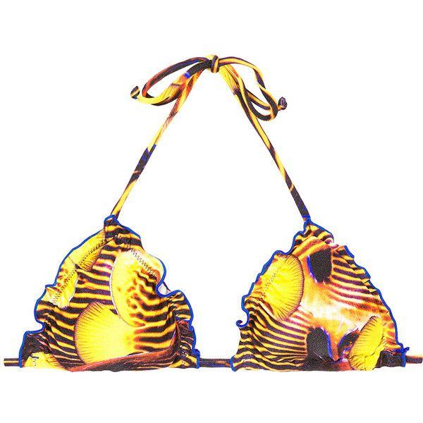Rio De Sol Triangle Top - Soutien Piau (285 NOK) ❤ liked on Polyvore featuring swimwear, bikinis, bikini tops, yellow, nautical bikini swimwear, yellow bikini, bikini beachwear, triangle bikini top and bikini two piece