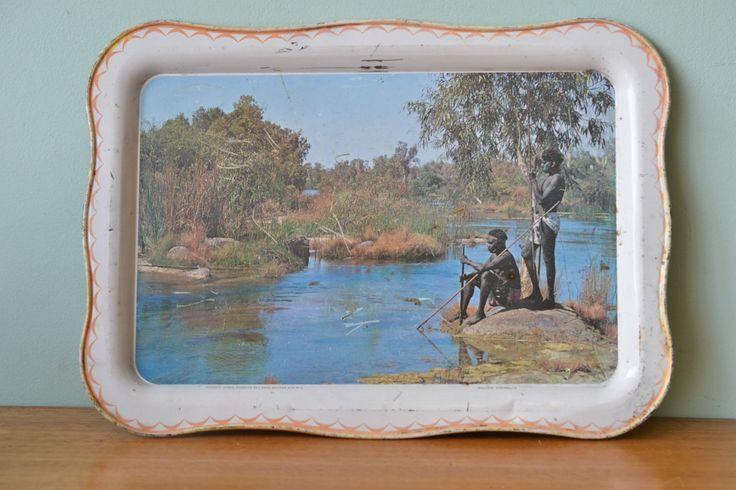 Vintage Willow tray Serving metal Aboriginal Roebuck Bay WA Australiana OT2 - Funky Flamingo