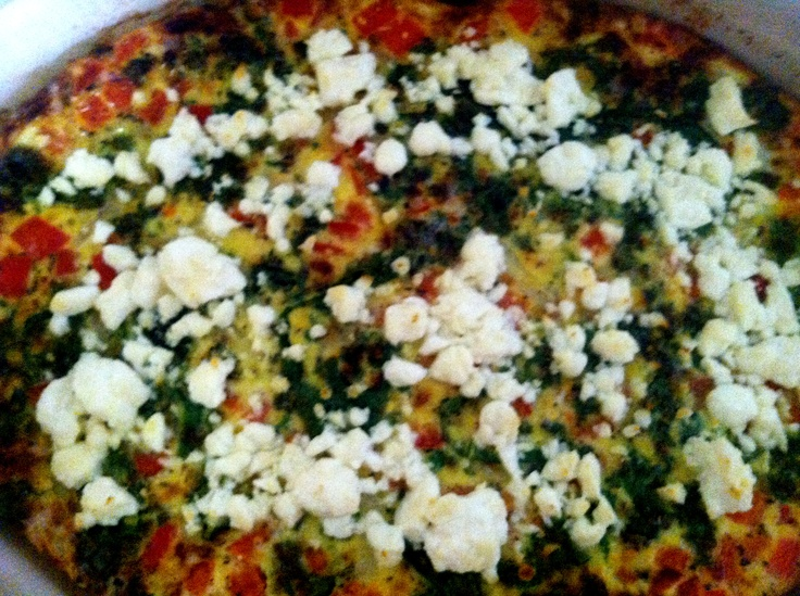 Red Pepper, Kale, Feta, and Caramelized Onion Crustless Quiche