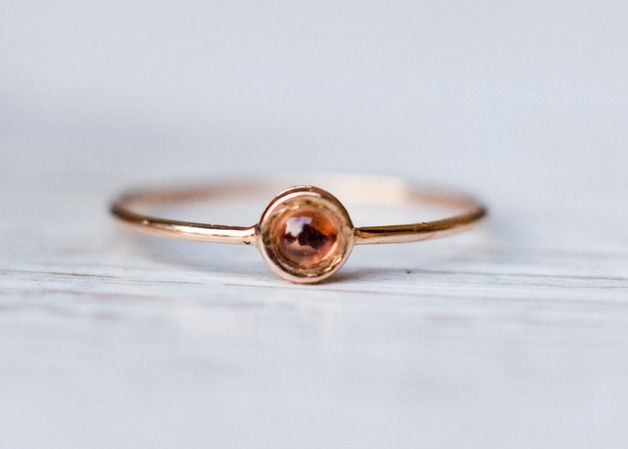 Red sapphire ring in pink gold, stacking ring