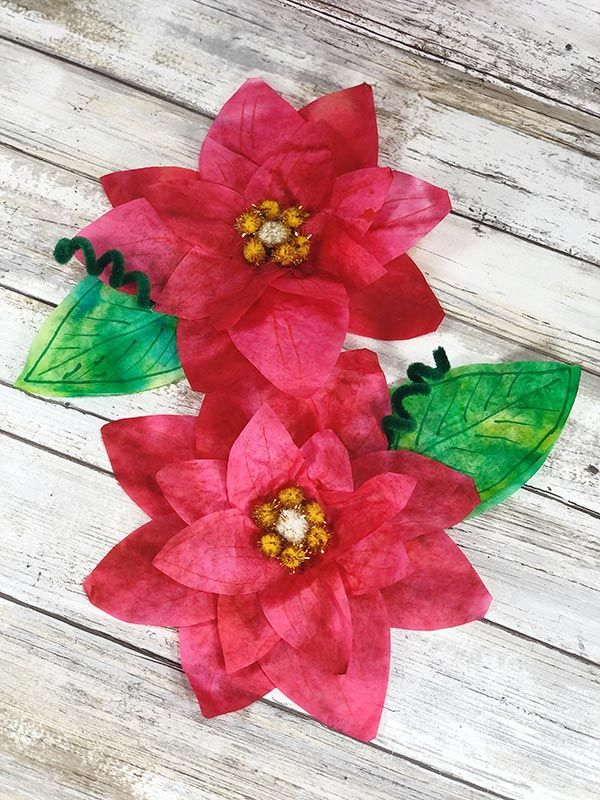 Coffee Filter Poinsettia Craft Christmas Crafts For Kids