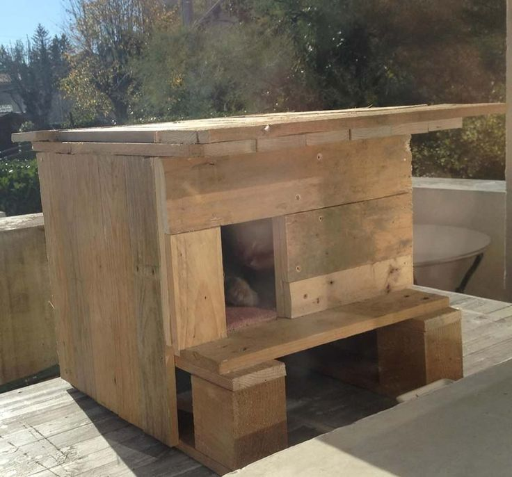 Nice and warm, this cat house is made with reclaimed pallet wood, carpet flooring and insulation on the walls. Bien …