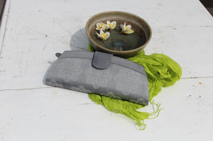 Hand painted silk clutch and handmade organza scarf to add a touch of colour