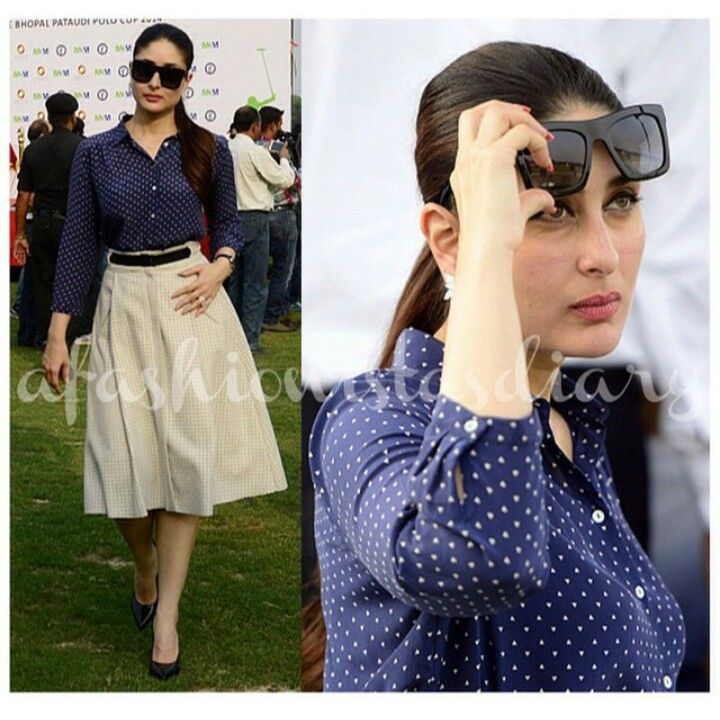 Kareena Kapoor in Zara blouse and skirt with YSL pumps