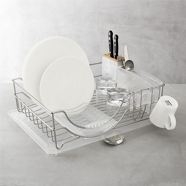 Love how there is a rack for plate-drying. simplehuman® System Dish Rack in Cleaning | Crate and Barrel