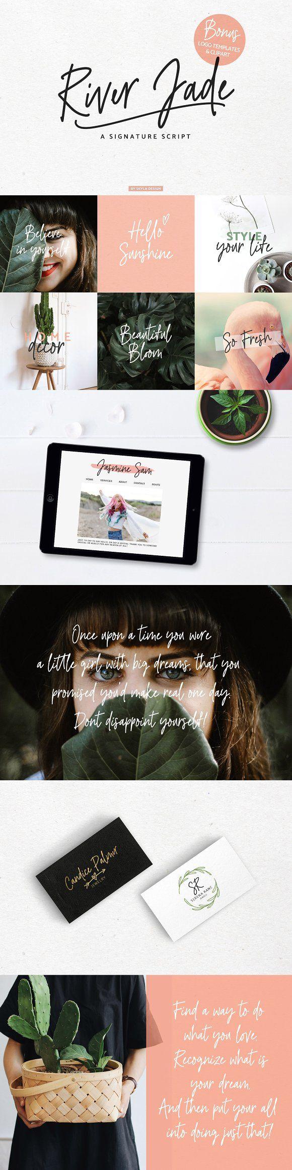 River Jade, Signature Font & Logos by Skyla Design on @creativemarket