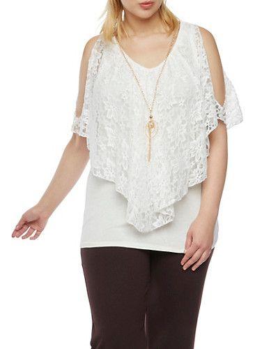 Plus Size Cold Shoulder Flutter Top with Necklace