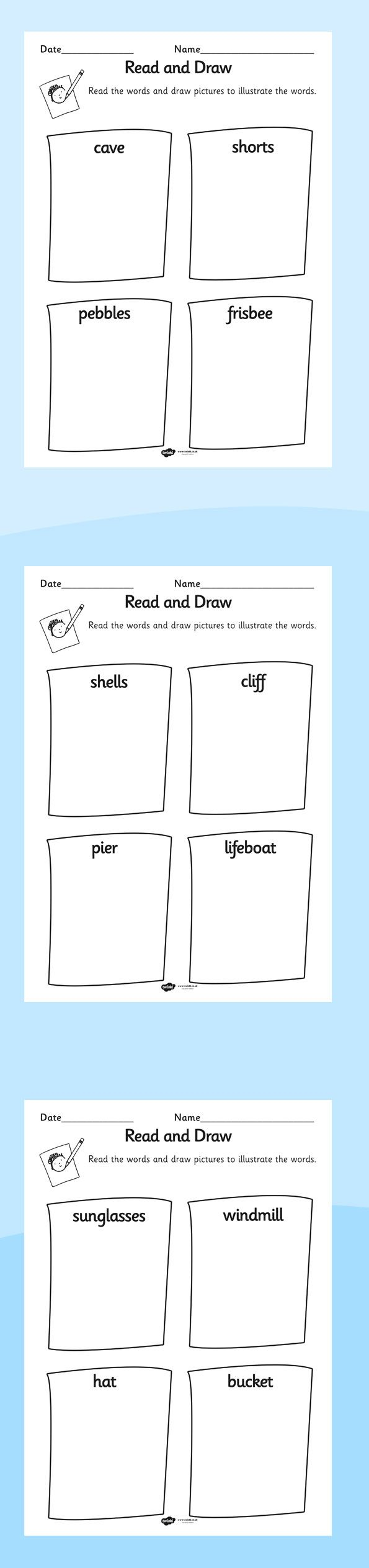 109 best seaside resources images on pinterest primary resources the seaside read and draw worksheets geenschuldenfo Gallery