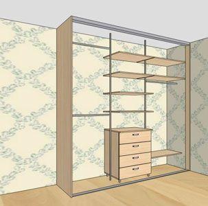 наполовину встроенный шкаф купе в спальню