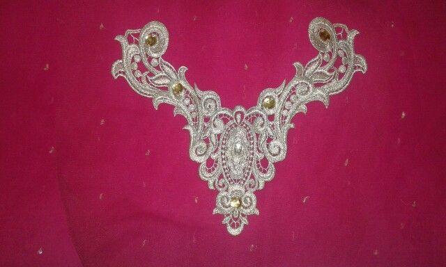 Silver zari yoke pattern in another color