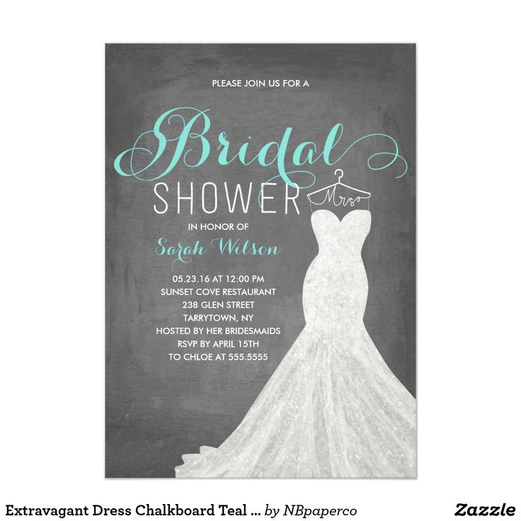 recipe themed bridal shower invitation wording%0A Extravagant Dress Chalkboard Teal   Bridal Shower