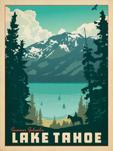 Lake Tahoe: Summer Splendor - Anderson Design Group has created an award-winning series of classic travel posters that celebrates the history and charm of America's greatest cities, national parks, etc. Founder Joel Anderson directs a team of talented Nashville-based artists to keep the collection growing. This print celebrates the pristine beauty of Lake Tahoe.<br />