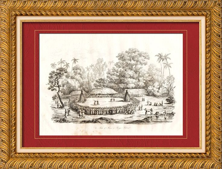 Tonga Islands - Tonga Tabu - Tongatapu - Celebrates and Public Plays Original steel engraving engraved by Beyer. 1835