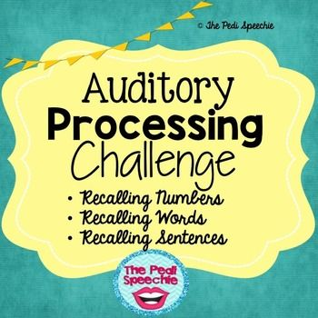 Auditory Processing: recalling numbers, recalling words, recalling sentences! Target recalling information in your speech therapy session!Perfect for your upper elementary & middle school students, these no prep, low ink language data collection worksheets target the following auditory processing concepts:Number Recall (recall of 3, 4, 5, & 6 numbers): 4 total data collection pagesWord Recall (recall of 4, 5, & 6 related & unrelated words): 6 total data collection pagesSentenc...