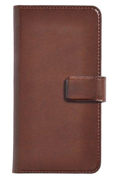 Men's Sena 'Burnished Magia Wallet' Leather iPhone 6 Plus Case - Brown