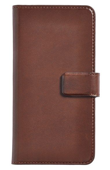 Men's Sena 'Burnished Magia Wallet' Leather iPhone 6 Plus Case - Brown