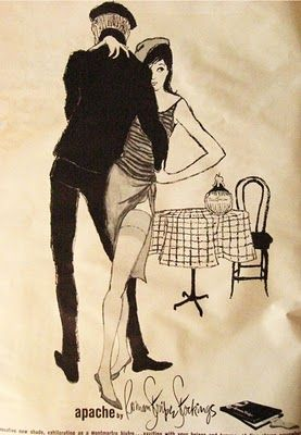 Also dating to 1960, this drawing has great technique and style but of course the beatnik theme is what I love, love, LOVE about it!  Right down to the berets, checkered tablecloth and bottle of chianti...