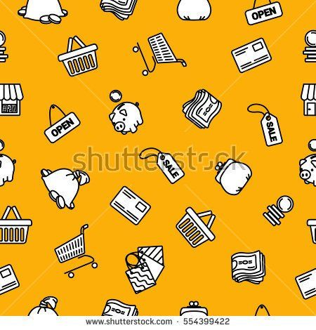 Vector business shopping icons set on orange background. Pattern