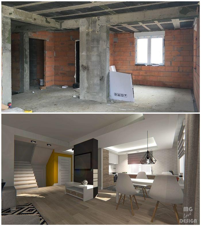 PROJEKT WNĘTRZA - DOM GŁUCHOŁAZY - MG LOVE DESIGN BY MARTA GŁUSZEK #styl #skandynawski #projekt #wnętrza #czarne #musztardowe #dodatki #szary #we #wnętrzu #architekt #wnętrz #nysa #głuchołazy