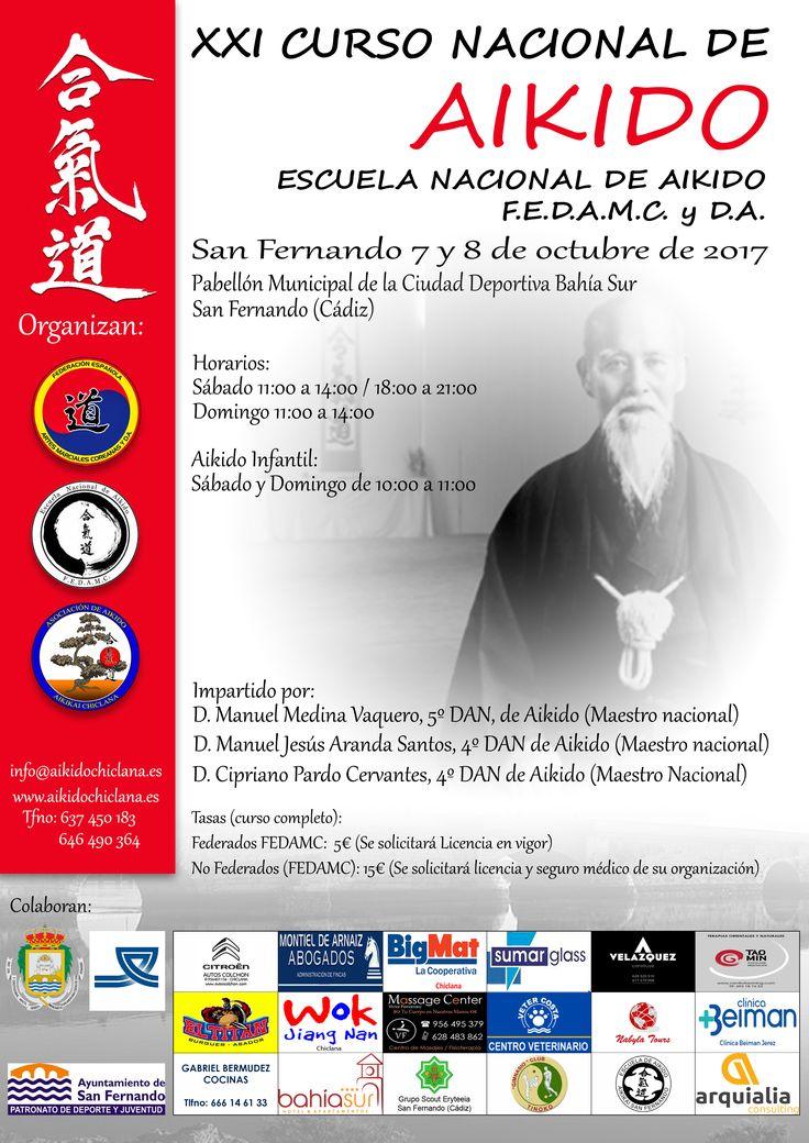 Cartel del XXI Curso Nacional de Aikido el cual se celebrará los próximos días 7 y 8 de octubre en el pabellón municipal de la Ciudad Deportiva de Bahía Sur en San Fernando (Cádiz).