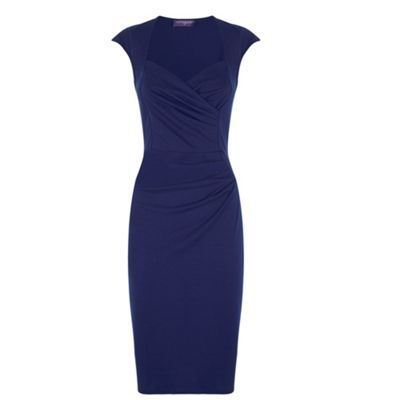 HotSquash Navy short sleeved dress in clever fabric- at Debenhams.com