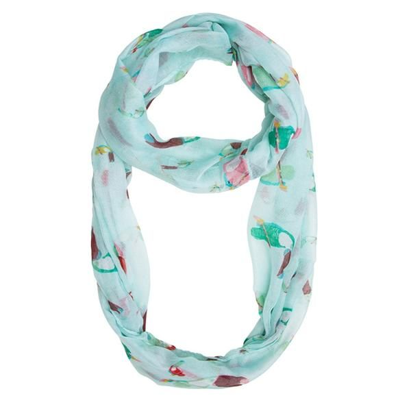 Mint Infinity Scarf With Tropical Toucan Motif, 100% Polyester, Dry Clean only.  Tropical toucans add summer fun to a must-have infinity scarf. Adds the perfect hint of cultural flair! Our scarf selection is stylishly designed without sacrificing comfort. We offer different choices of fabric, color, and style. Browse our selection and youll definitely find your unique look.