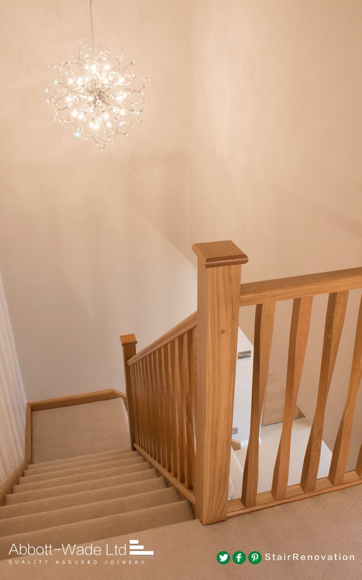 Oak staircase with Abbott-Wade's twisted spindles