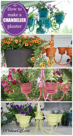 Such a cute idea! Great for a balcony, or even indoors. How to make a chandelier flower planter.