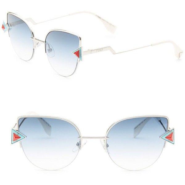 Fendi Rainbow 52MM Cat Eye Sunglasses ($545) ❤ liked on Polyvore featuring accessories, eyewear, sunglasses, blue sunglasses, metal glasses, cat eye sunglasses, metal sunglasses and fendi glasses
