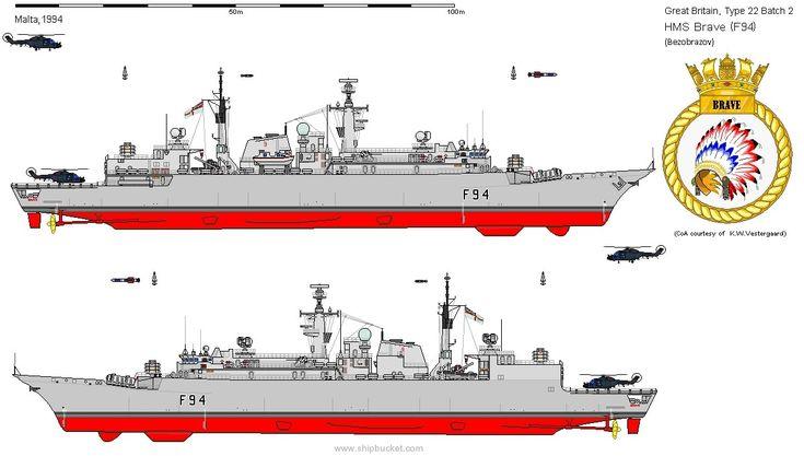 f 94 hms brave type 22 broadsword class frigate royal navy