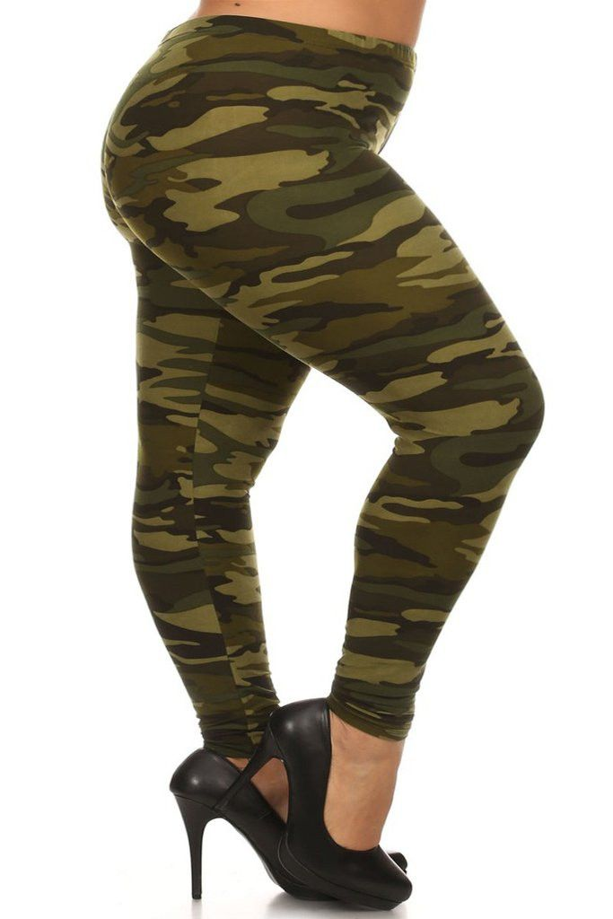 Camo Print Buttery Soft Leggings - Plus Size