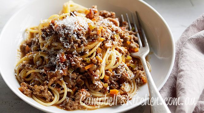 Try Manu's twist on spaghetti bolognese with fried pancetta for extra flavour.