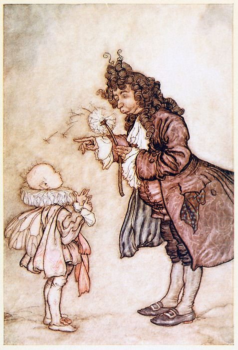 When her Majesty wants to know the time.    Arthur Rackham, from Peter Pan in Kensington gardens, by James Matthew Barrie, New York, 1910.