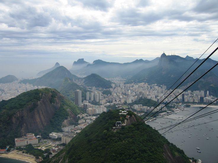 Descending Sugarloaf Mountain in Rio de Janeiro by cable car