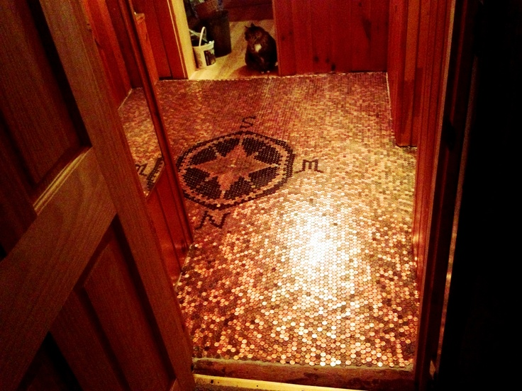 Best 25 pennies floor ideas on pinterest penny flooring for Copper penny bar top