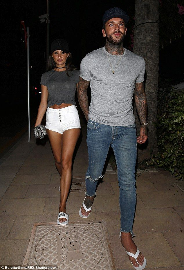 The happy couple: Megan McKenna was once again by her boyfriend Pete Wicks' side as they headed out in Majorca on Monday night while filming TOWIE
