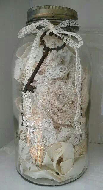 .Large jar: tied with antique lace & skeleton key