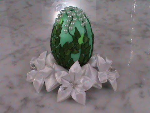 Декоративное пасхальное яйцо в стиле канзаши - ландыши - YouTube