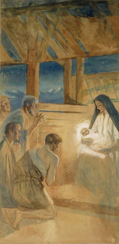 """ALBERT EDELFELT (1854-1905)  """"The Shepherds Worship The Baby Jesus"""" (1891-1892) - study - watercolor and pastel - Paimenet kumartavat Jeesus-lasta, harjoitelma Vaasan kirkon alttaritauluun - vesiväri ja pastelli - Ateneumin taidemuseo"""