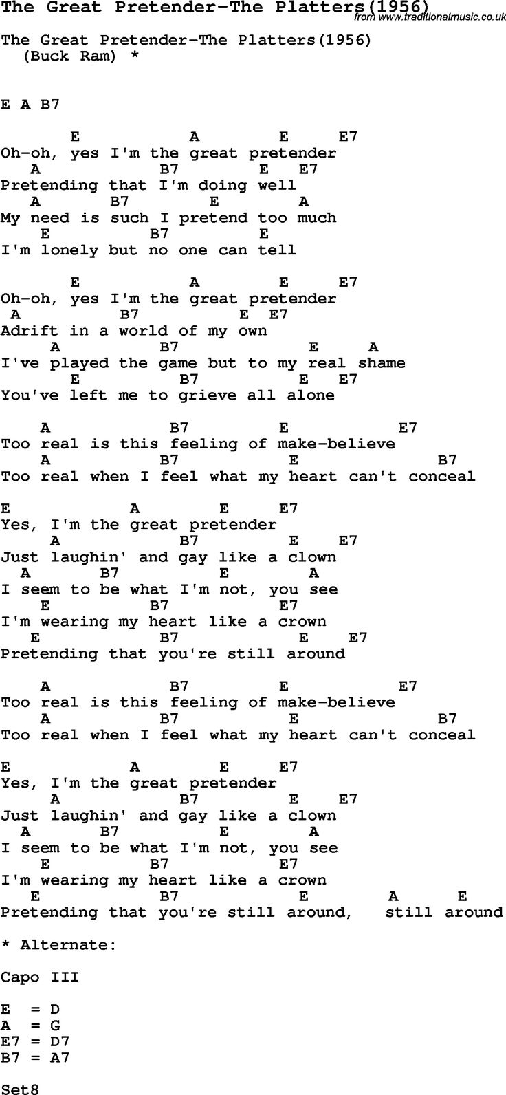 Song The Great Pretender-The Platters(1956), with lyrics for vocal performance and accompaniment ...