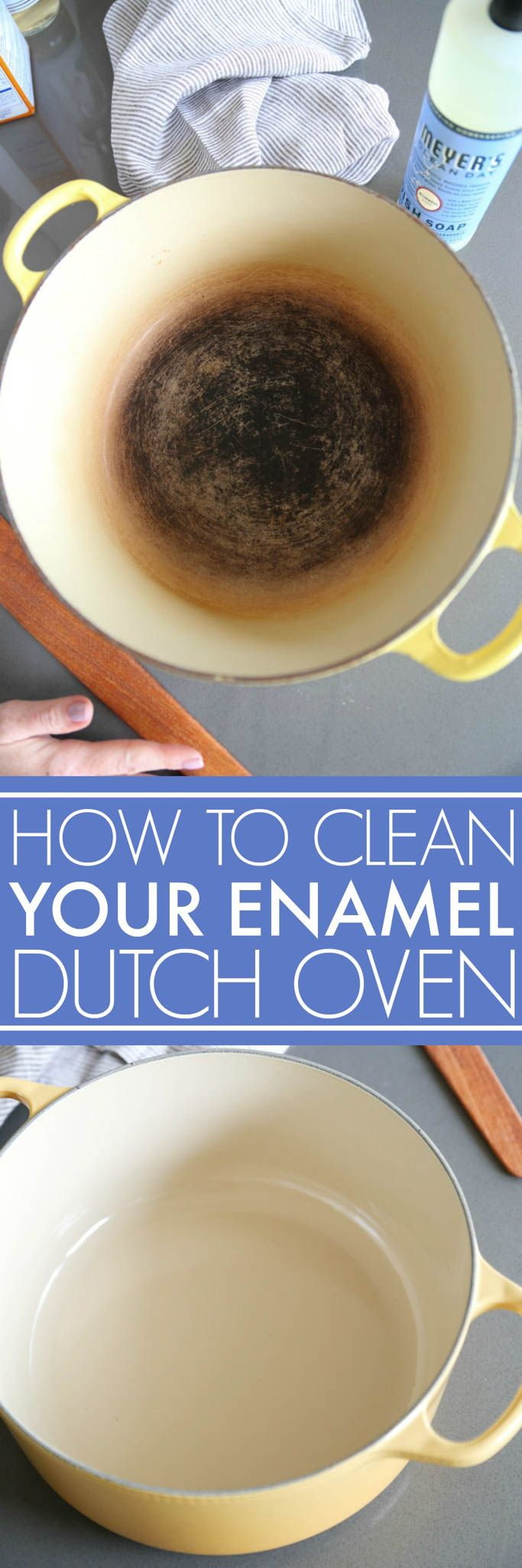 Learn how to clean an enameled cast iron dutch oven with baking soda. It will get rid of any stains and stuck on food without ruining your enameled pot. | #ad platingsandpairings.com #homeiswheremrsmeyersis