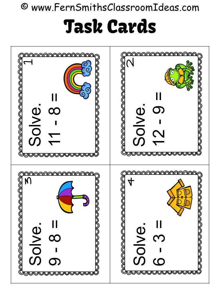 #FREE Mixed Subtraction Spring Task Cards and Printable #TPT