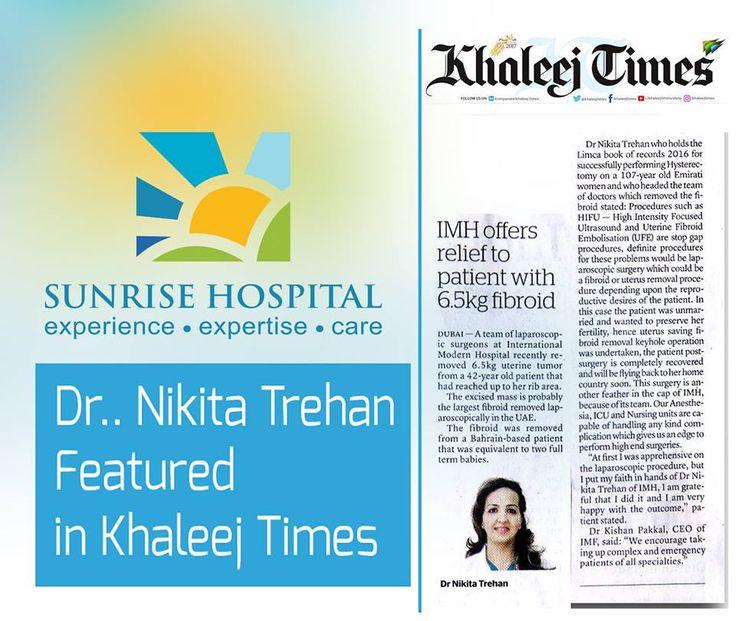 Dr Nikita Trehan Featured in the prestigious newspaper Khaleej Times. #LimcaBookRecord #KhaleejTimes.