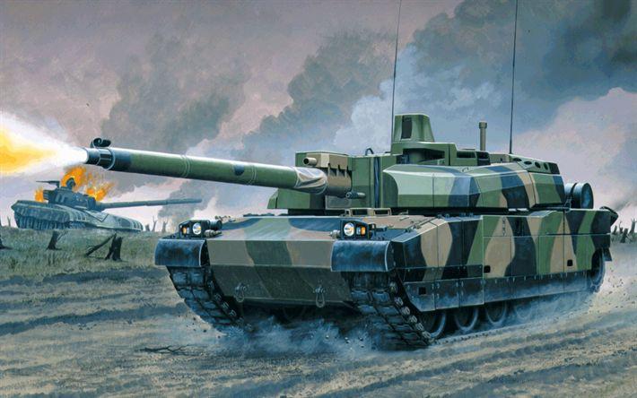 Descargar fondos de pantalla AMX Leclerc, francés tanque, modernos vehículos blindados, pintado de tanque
