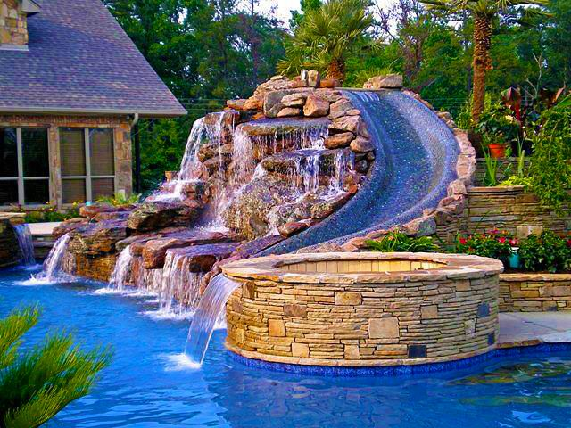waterslide hottub and pool waterfall and beautiful backyard brick - Cool Pools With Waterfalls In Houses